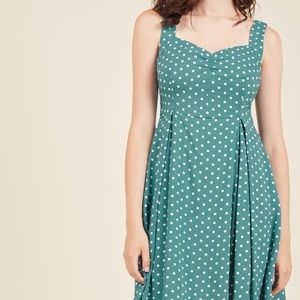 ModCloth vintage style green polka dot dress